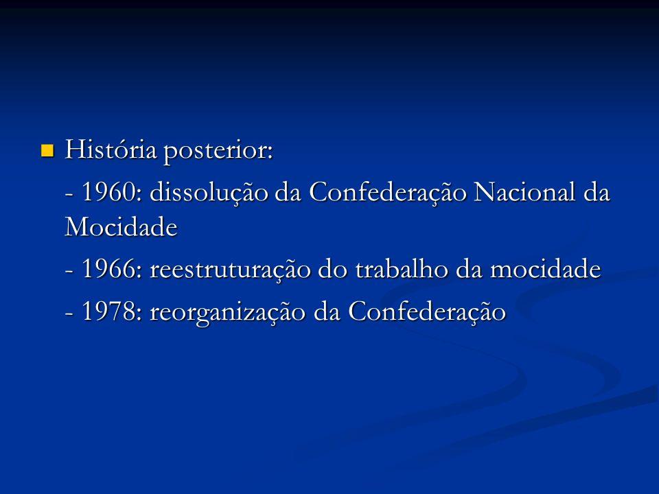 História posterior: História posterior: - 1960: dissolução da Confederação Nacional da Mocidade - 1966: reestruturação do trabalho da mocidade - 1978: