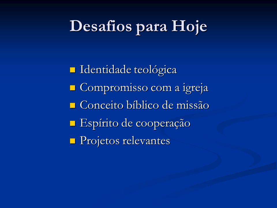 Desafios para Hoje Identidade teológica Identidade teológica Compromisso com a igreja Compromisso com a igreja Conceito bíblico de missão Conceito bíb