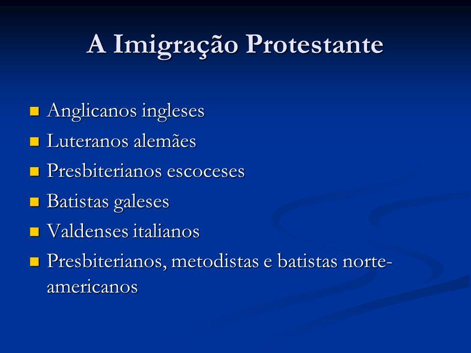 A Imigração Protestante Anglicanos ingleses Anglicanos ingleses Luteranos alemães Luteranos alemães Presbiterianos escoceses Presbiterianos escoceses
