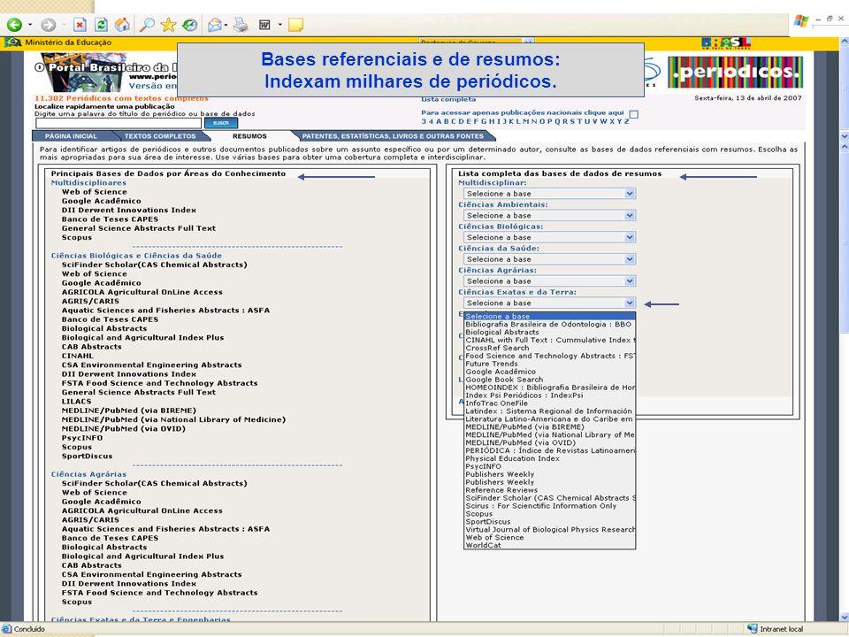Bases referenciais e de resumos: Indexam milhares de periódicos.
