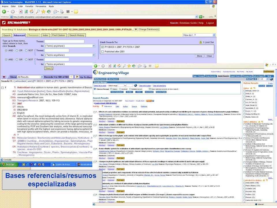 Bases referenciais/resumos especializadas