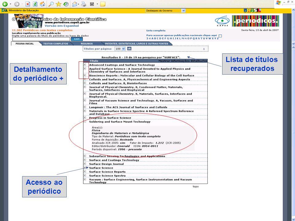 Detalhamento do periódico + Lista de títulos recuperados Acesso ao periódico