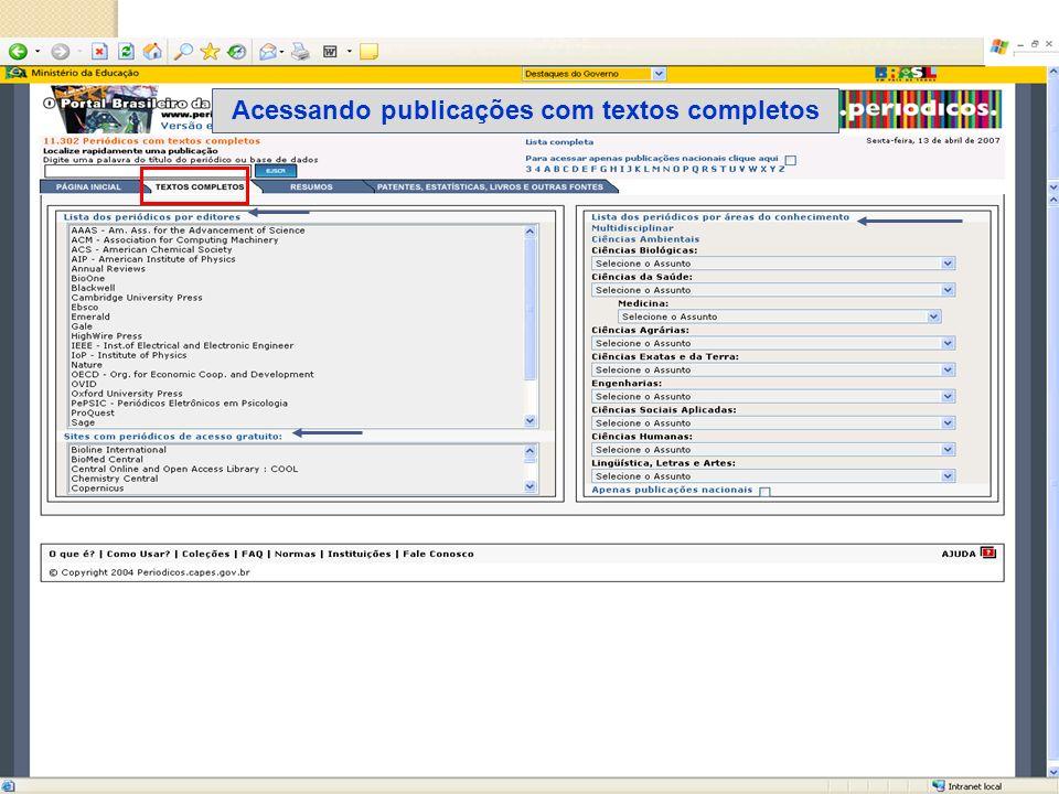 Acessando publicações com textos completos