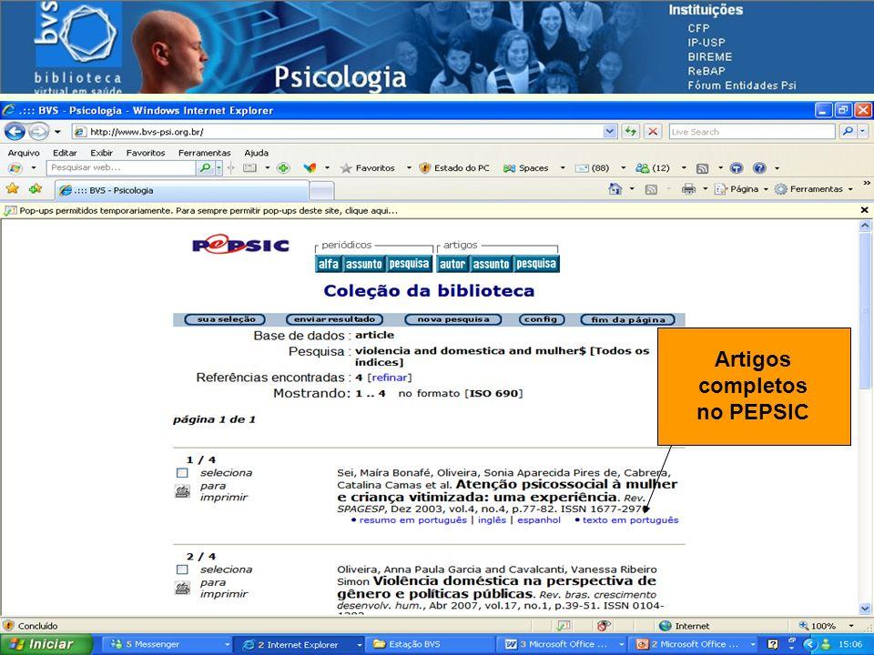 Navegando pelas fontes de informação Artigos completos no PEPSIC