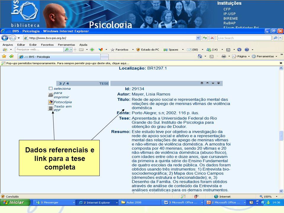 Navegando pelas fontes de informação Dados referenciais e link para a tese completa