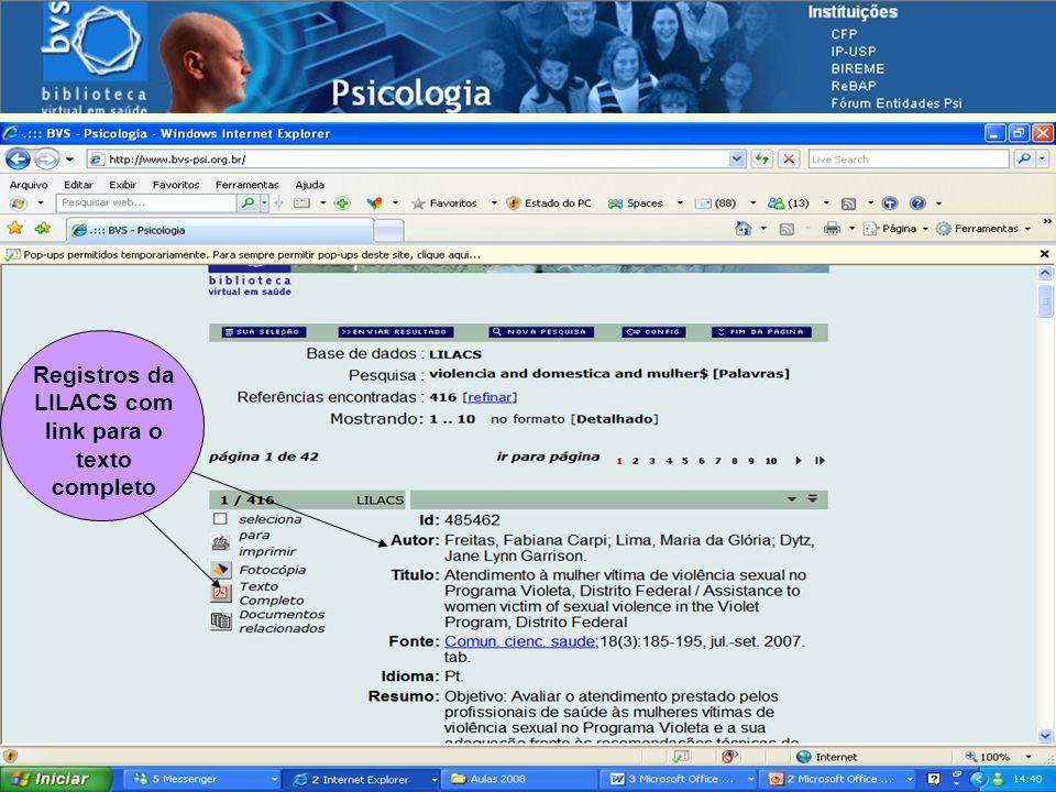 Navegando pelas fontes de informação Registros da LILACS com link para o texto completo