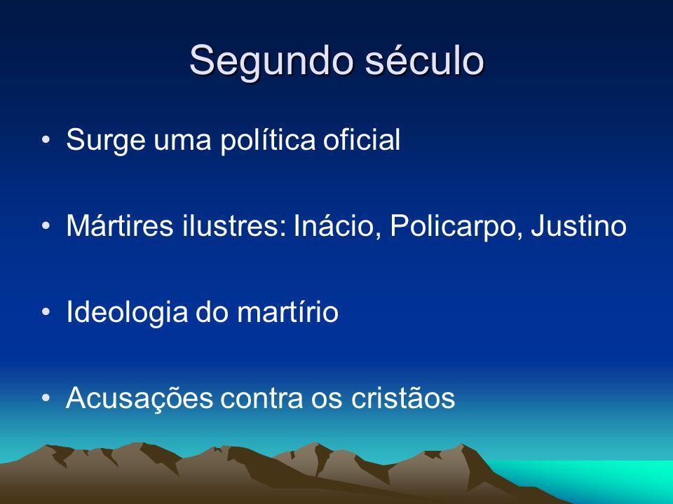 Segundo século Surge uma política oficial Mártires ilustres: Inácio, Policarpo, Justino Ideologia do martírio Acusações contra os cristãos
