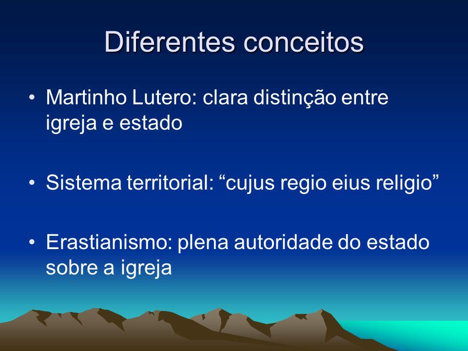 Diferentes conceitos Martinho Lutero: clara distinção entre igreja e estado Sistema territorial: cujus regio eius religio Erastianismo: plena autorida