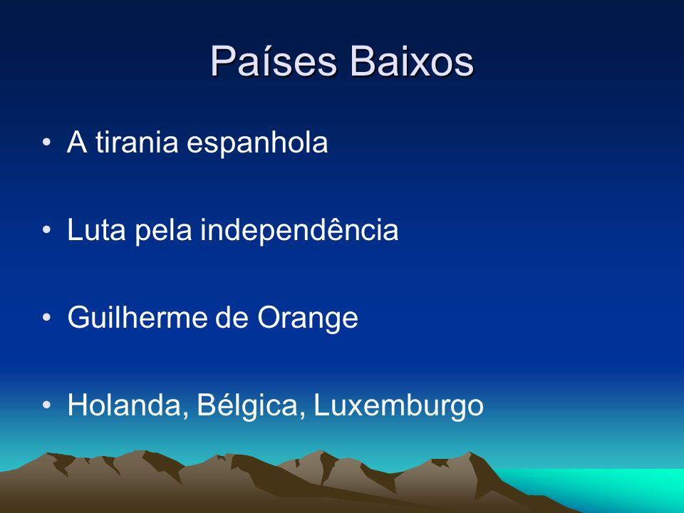 Países Baixos A tirania espanhola Luta pela independência Guilherme de Orange Holanda, Bélgica, Luxemburgo