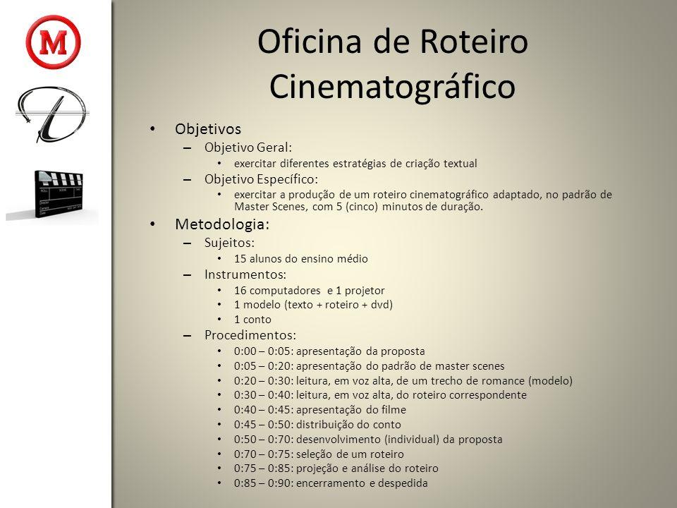 Oficina de Roteiro Cinematográfico Objetivos – Objetivo Geral: exercitar diferentes estratégias de criação textual – Objetivo Específico: exercitar a