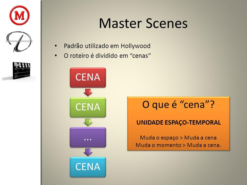 Master Scenes Padrão utilizado em Hollywood O roteiro é dividido em cenas CENA...CENA O que é cena? UNIDADE ESPAÇO-TEMPORAL Muda o espaço > Muda a cen