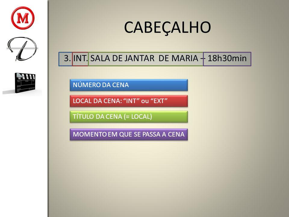 CABEÇALHO 3. INT. SALA DE JANTAR DE MARIA – 18h30min NÚMERO DA CENA LOCAL DA CENA: INT ou EXT TÍTULO DA CENA (= LOCAL) MOMENTO EM QUE SE PASSA A CENA