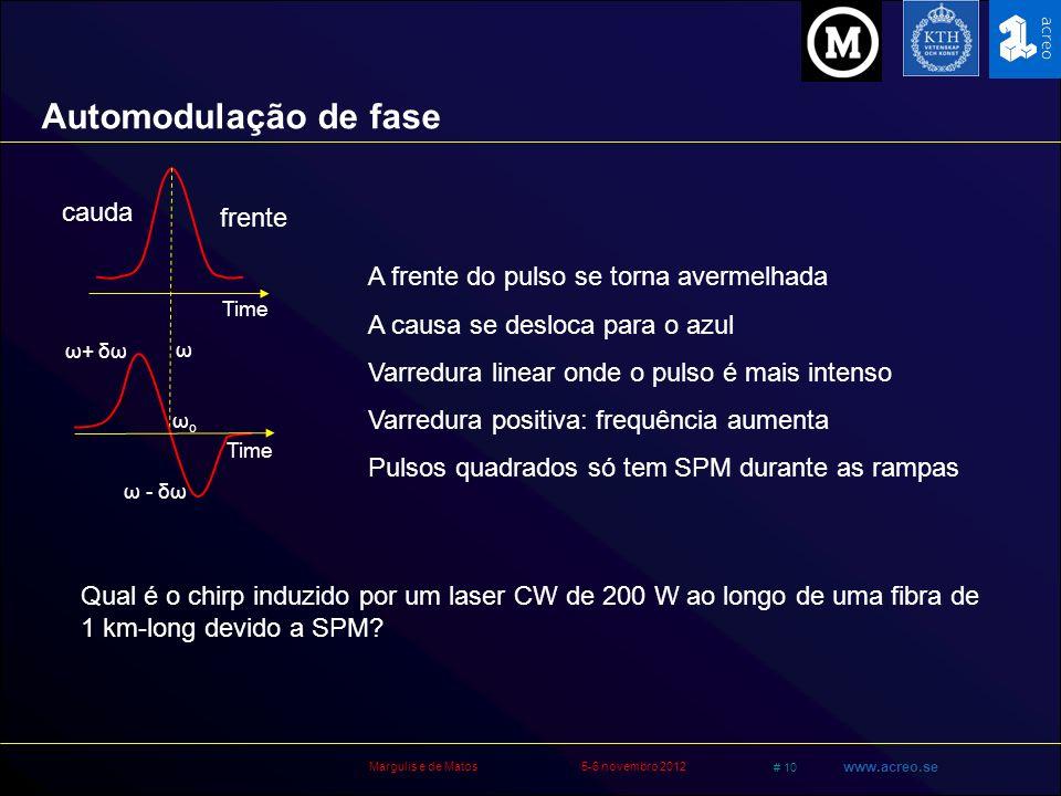 Margulis e de Matos5-6 novembro 2012 # 10 www.acreo.se A frente do pulso se torna avermelhada A causa se desloca para o azul Varredura linear onde o p