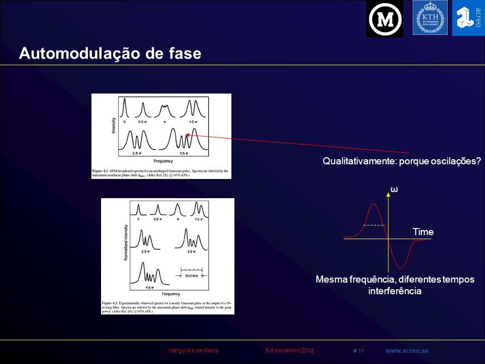Margulis e de Matos5-6 novembro 2012 # 11 www.acreo.se ω Time Mesma frequência, diferentes tempos interferência Qualitativamente: porque oscilações? A