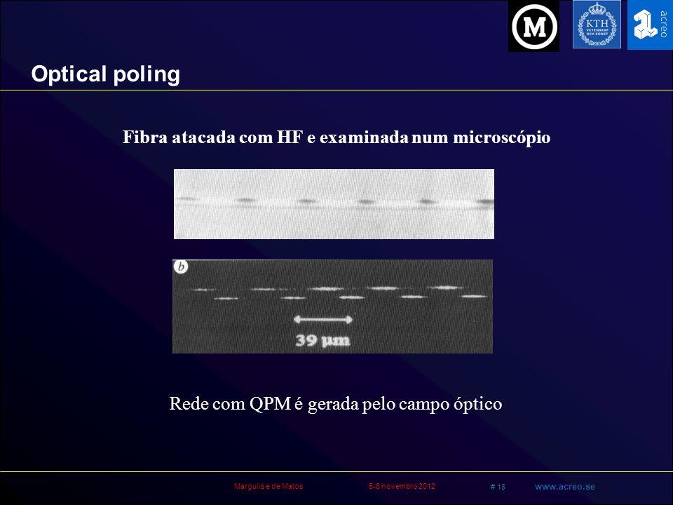 Margulis e de Matos5-6 novembro 2012 # 18 www.acreo.se Optical poling Fibra atacada com HF e examinada num microscópio Rede com QPM é gerada pelo camp