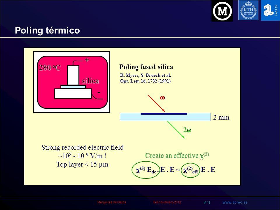 Margulis e de Matos5-6 novembro 2012 # 19 www.acreo.se + - silica 280 o C R. Myers, S. Brueck et al, Opt. Lett. 16, 1732 (1991) Strong recorded electr