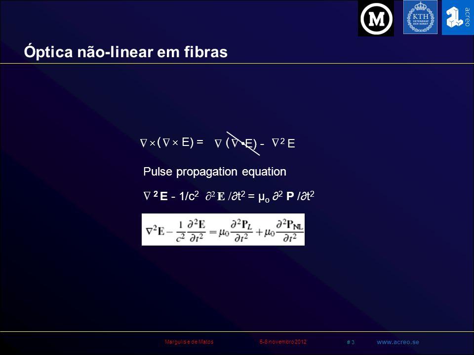 Margulis e de Matos5-6 novembro 2012 # 14 www.acreo.se Poling (2) = 0 in fibras Não exibe não-linearidade de segunda ordem Vidro é um material simétrico Quebrando a simetria: Grava-se um campo permanente DC.