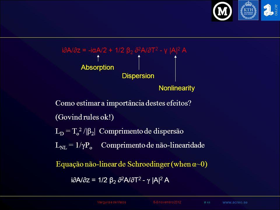 Margulis e de Matos5-6 novembro 2012 # 44 www.acreo.se iA/z = -iαA/2 + 1/2 β 2 2 A/T 2 - γ |A| 2 A Absorption Dispersion Nonlinearity Como estimar a i