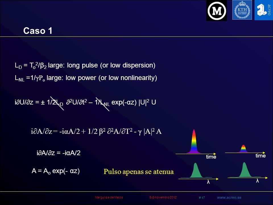 Margulis e de Matos5-6 novembro 2012 # 47 www.acreo.se L D = T o 2 /β 2 large: long pulse (or low dispersion) L NL =1/ γP o large: low power (or low n