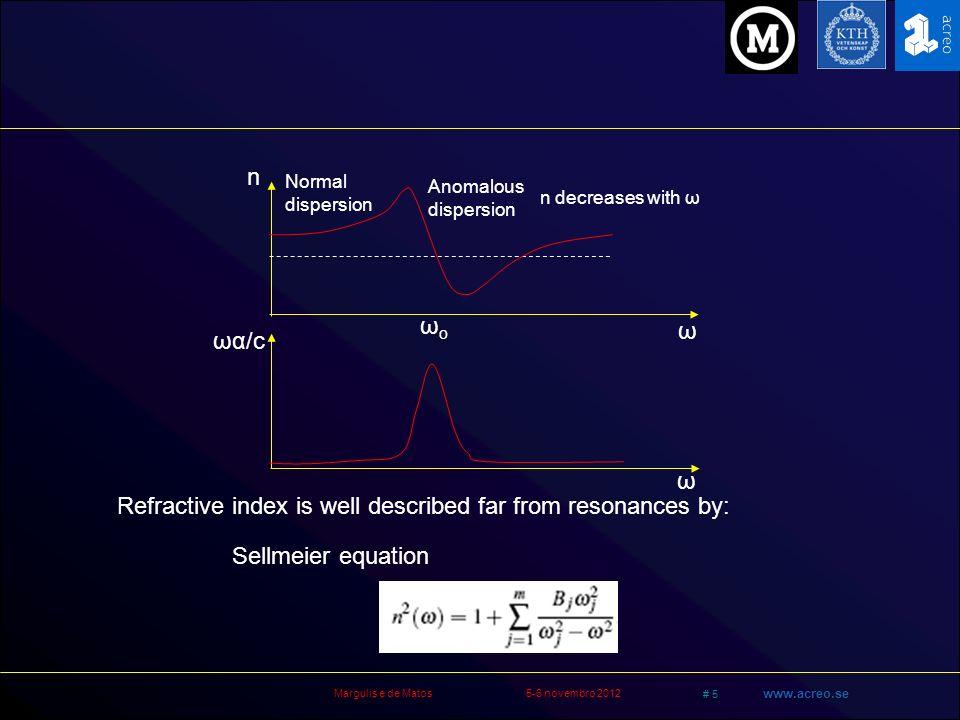 Margulis e de Matos5-6 novembro 2012 # 6 www.acreo.se Equação de onda para luz em materiais Solução: Separa variáveis e elimina x e y: E (r,t) = F(x,y) A(z,t) exp [i(βz-ωt)] x Equação transversal: 2 F /x 2 + 2 F /y 2 + [ε(ω)K o 2 - β 2 ] F = 0 Condições de contorno fazem aparecer modos F(x,y) são funções de Bessel, combinadas em HE mn e EH mn LP 01 LP 11 LP 02 + 2 E P µoµo = t2t2 n2ω2n2ω2 c 2 E 2 t2t2