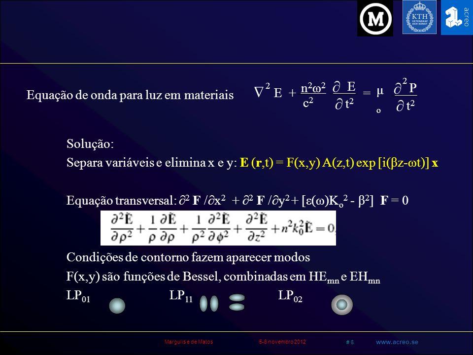Margulis e de Matos5-6 novembro 2012 # 7 www.acreo.se P = o (1) E + o (3) E.E.E Seja E tot = E (z) exp (iωt) + E * (z) exp (-iωt) E.E.E = E 3 exp 3(iωt) + 3 E E * E exp (iωt) + 3 E* E E* exp (-iωt) + E *3 exp 3(-iωt) I THG E.E.E = E 3 exp (i 3ω t) + 3 I E exp (iωt) + cc O termo não-linear pode ser expresso como uma correção de n P = o (1) E + (3 o (3) I.) E (n 0 + n 2 I) Índice de refração depende da intensidade Automodulação de fase Assuma modos transversais: autoestados de propagação I