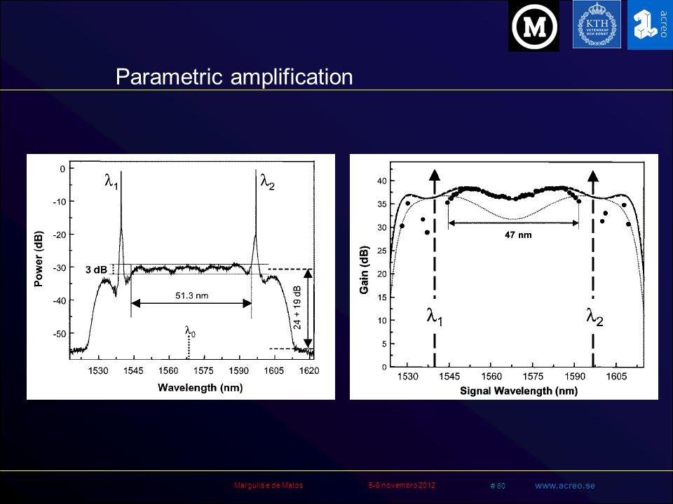 Margulis e de Matos5-6 novembro 2012 # 60 www.acreo.se Parametric amplification