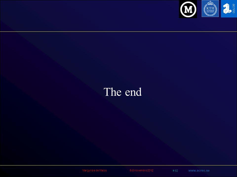 Margulis e de Matos5-6 novembro 2012 # 62 www.acreo.se The end