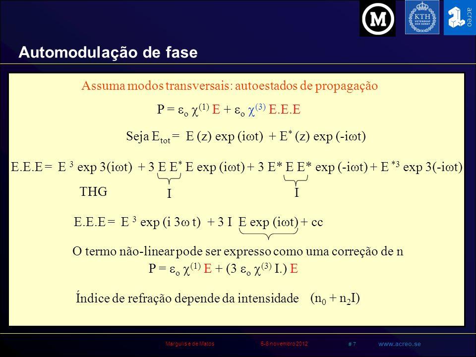 Margulis e de Matos5-6 novembro 2012 # 7 www.acreo.se P = o (1) E + o (3) E.E.E Seja E tot = E (z) exp (iωt) + E * (z) exp (-iωt) E.E.E = E 3 exp 3(iω