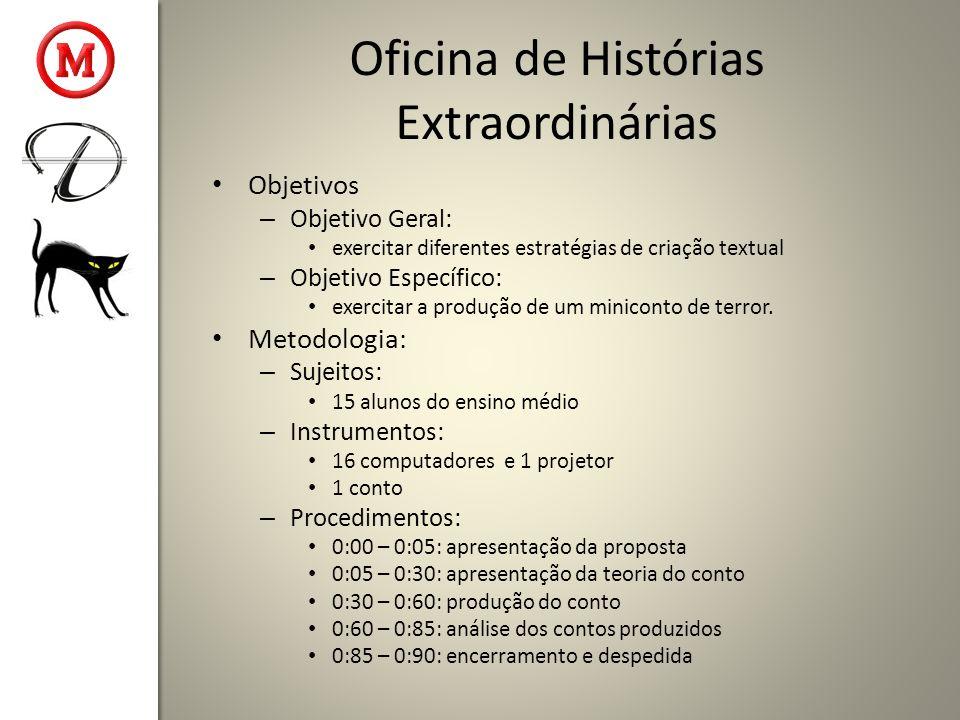 Oficina de Histórias Extraordinárias Objetivos – Objetivo Geral: exercitar diferentes estratégias de criação textual – Objetivo Específico: exercitar