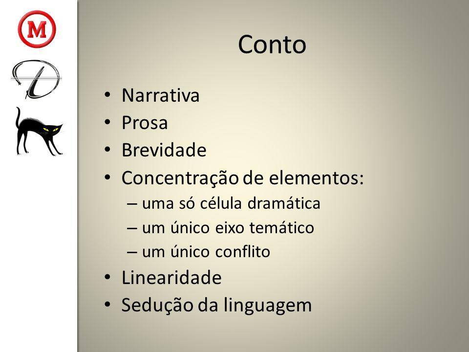 Conto Narrativa Prosa Brevidade Concentração de elementos: – uma só célula dramática – um único eixo temático – um único conflito Linearidade Sedução