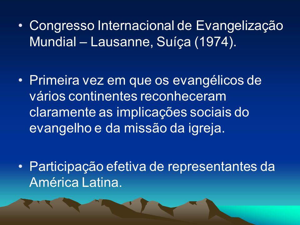 Congresso Internacional de Evangelização Mundial – Lausanne, Suíça (1974). Primeira vez em que os evangélicos de vários continentes reconheceram clara