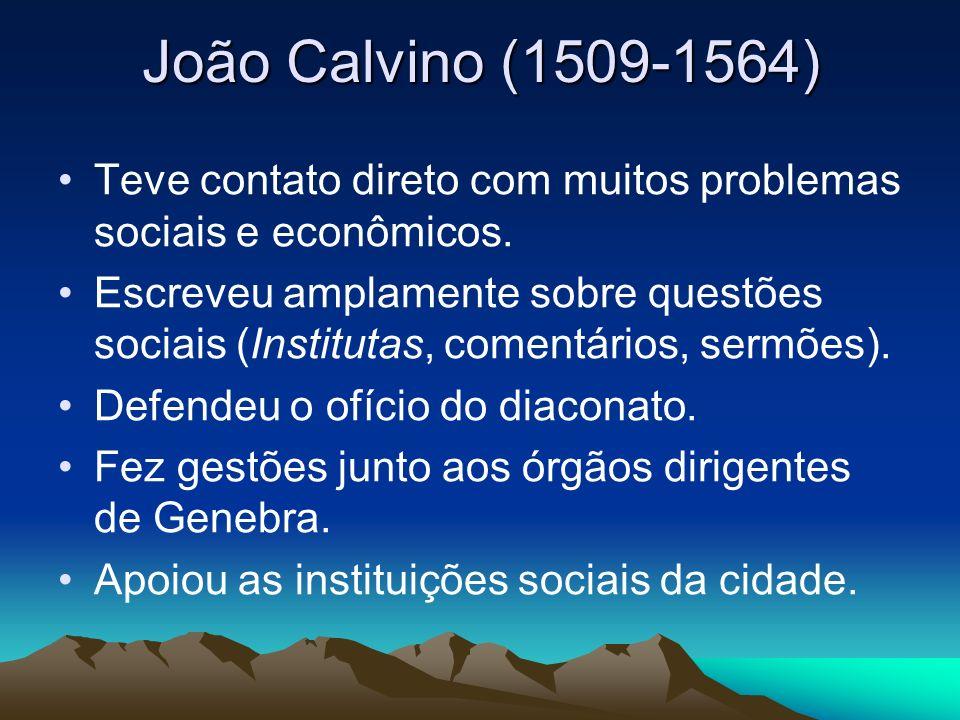 João Calvino (1509-1564) Teve contato direto com muitos problemas sociais e econômicos. Escreveu amplamente sobre questões sociais (Institutas, coment