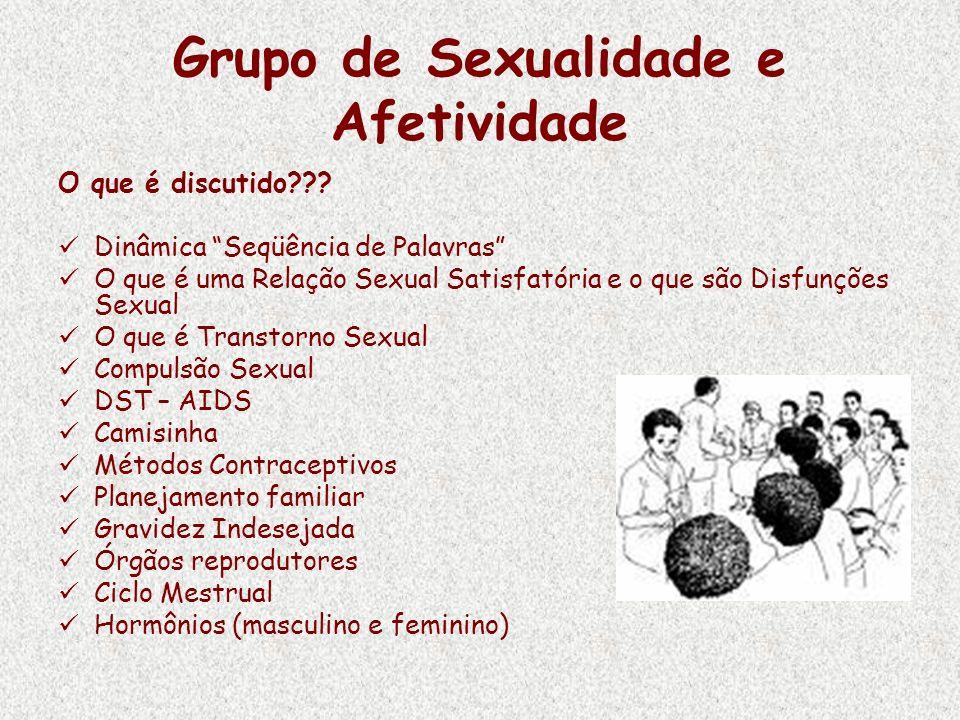 Grupo de Sexualidade e Afetividade O que é discutido??? Dinâmica Seqüência de Palavras O que é uma Relação Sexual Satisfatória e o que são Disfunções