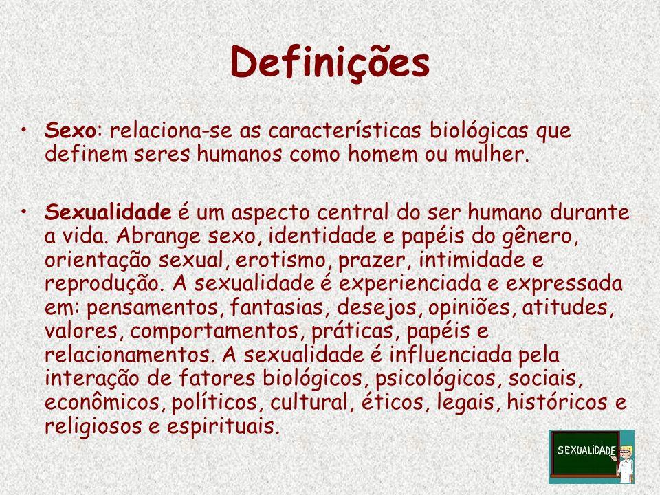 Definições Sexo: relaciona-se as características biológicas que definem seres humanos como homem ou mulher. Sexualidade é um aspecto central do ser hu