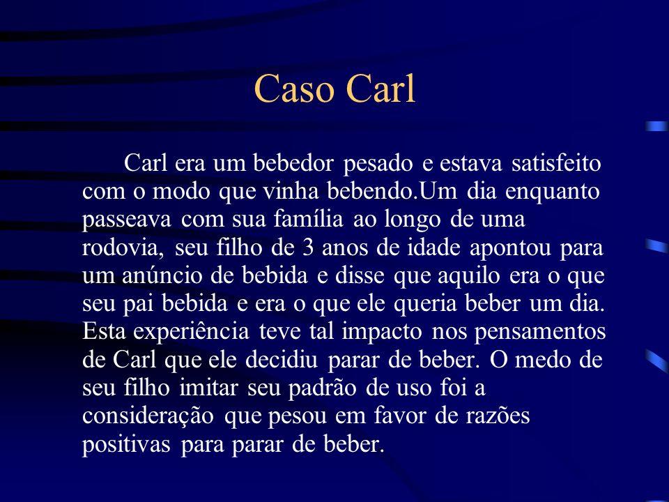 Caso Carl Carl era um bebedor pesado e estava satisfeito com o modo que vinha bebendo.Um dia enquanto passeava com sua família ao longo de uma rodovia