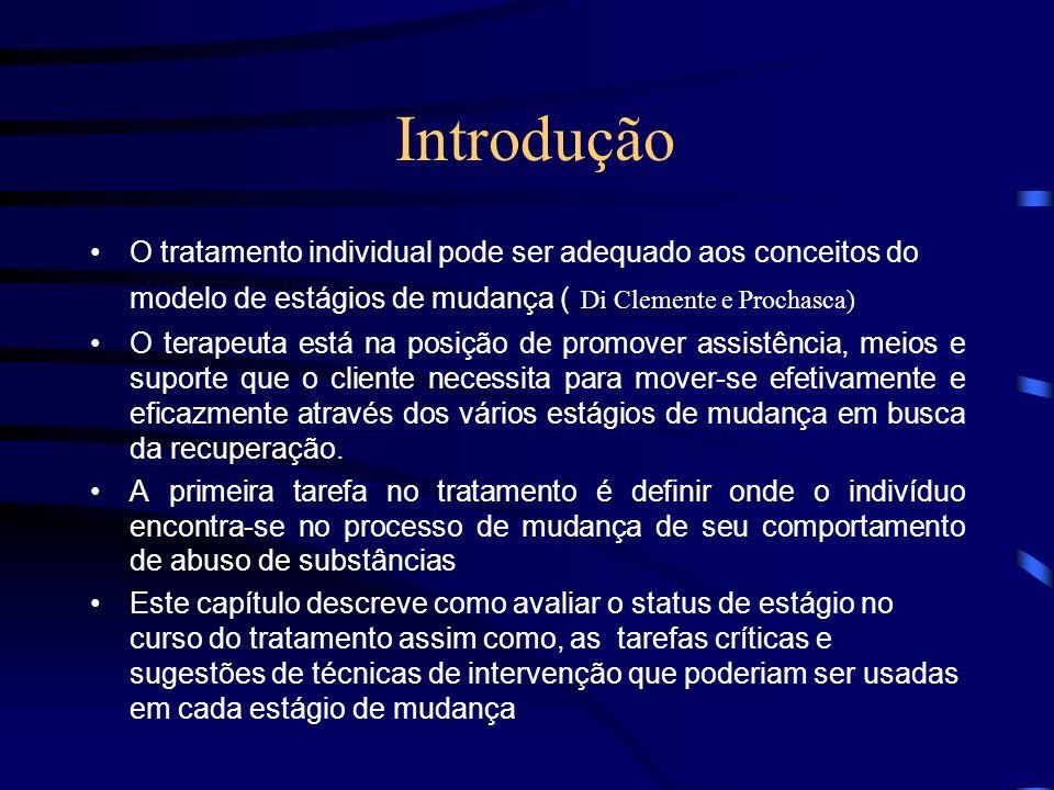 Introdução O tratamento individual pode ser adequado aos conceitos do modelo de estágios de mudança ( Di Clemente e Prochasca) O terapeuta está na pos