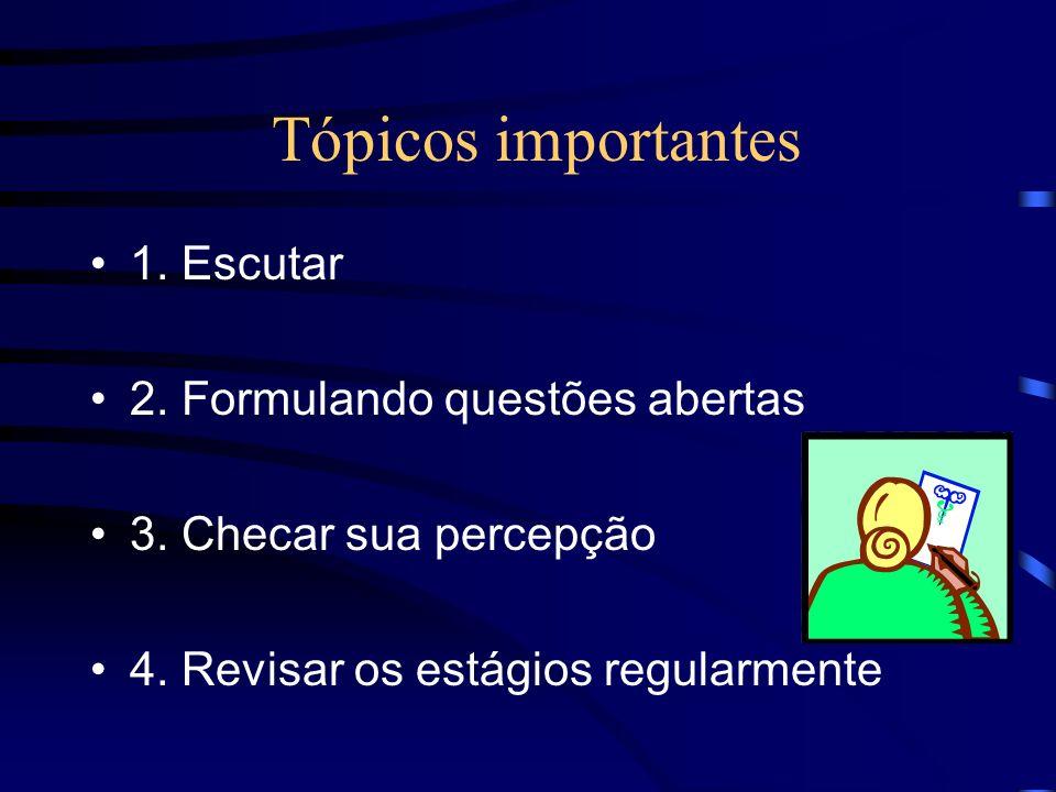 Tópicos importantes 1. Escutar 2. Formulando questões abertas 3. Checar sua percepção 4. Revisar os estágios regularmente