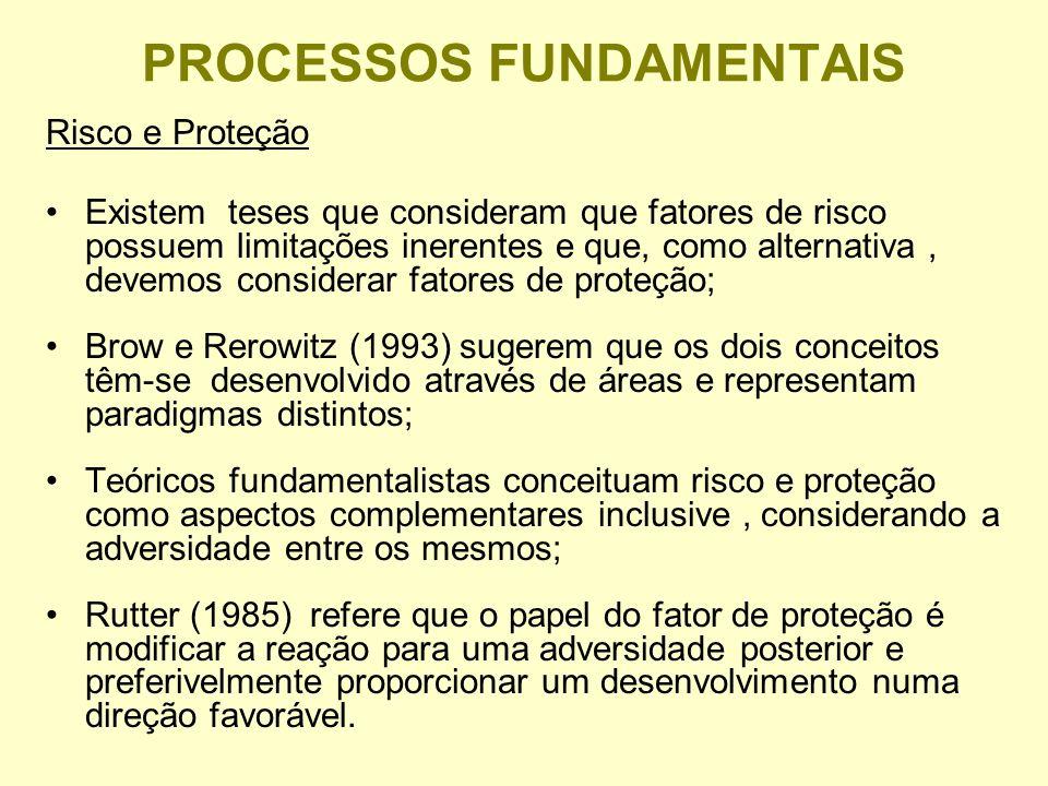 PROCESSOS FUNDAMENTAIS Risco e Proteção Existem teses que consideram que fatores de risco possuem limitações inerentes e que, como alternativa, devemos considerar fatores de proteção; Brow e Rerowitz (1993) sugerem que os dois conceitos têm-se desenvolvido através de áreas e representam paradigmas distintos; Teóricos fundamentalistas conceituam risco e proteção como aspectos complementares inclusive, considerando a adversidade entre os mesmos; Rutter (1985) refere que o papel do fator de proteção é modificar a reação para uma adversidade posterior e preferivelmente proporcionar um desenvolvimento numa direção favorável.