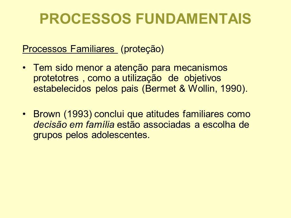PROCESSOS FUNDAMENTAIS Processos Familiares (proteção) Tem sido menor a atenção para mecanismos protetotres, como a utilização de objetivos estabelecidos pelos pais (Bermet & Wollin, 1990).