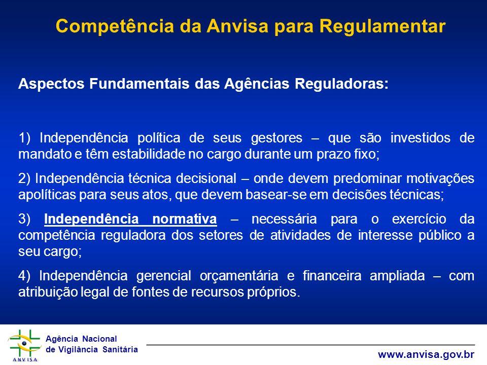 Agência Nacional de Vigilância Sanitária www.anvisa.gov.br Agência Nacional de Vigilância Sanitária www.anvisa.gov.br Aspectos Fundamentais das Agênci