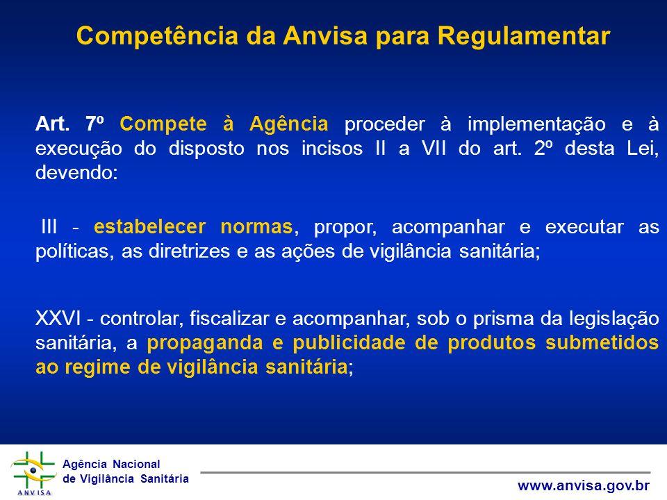 Agência Nacional de Vigilância Sanitária www.anvisa.gov.br Agência Nacional de Vigilância Sanitária www.anvisa.gov.br Art. 7º Compete à Agência proced