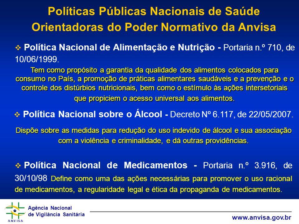 Agência Nacional de Vigilância Sanitária www.anvisa.gov.br Agência Nacional de Vigilância Sanitária www.anvisa.gov.br Política Nacional de Alimentação