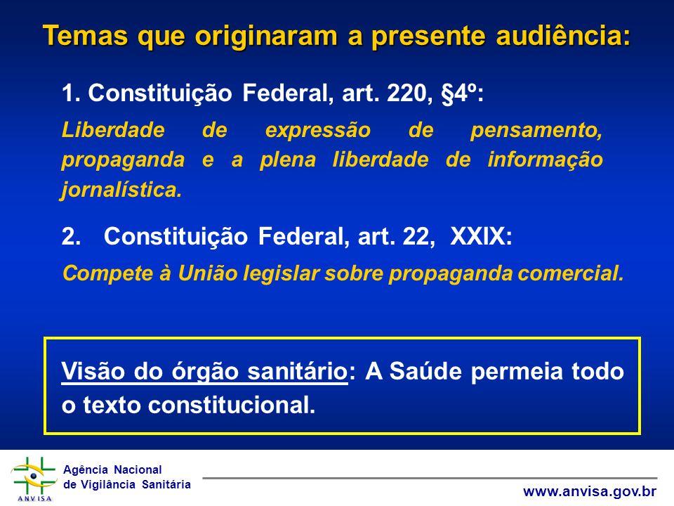 Agência Nacional de Vigilância Sanitária www.anvisa.gov.br Agência Nacional de Vigilância Sanitária www.anvisa.gov.br 2.Constituição Federal, art. 22,