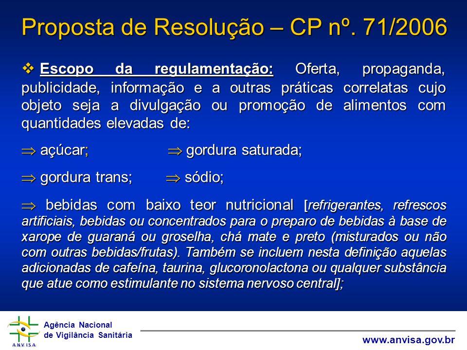 Agência Nacional de Vigilância Sanitária www.anvisa.gov.br Agência Nacional de Vigilância Sanitária www.anvisa.gov.br Contribuições – CP nº.