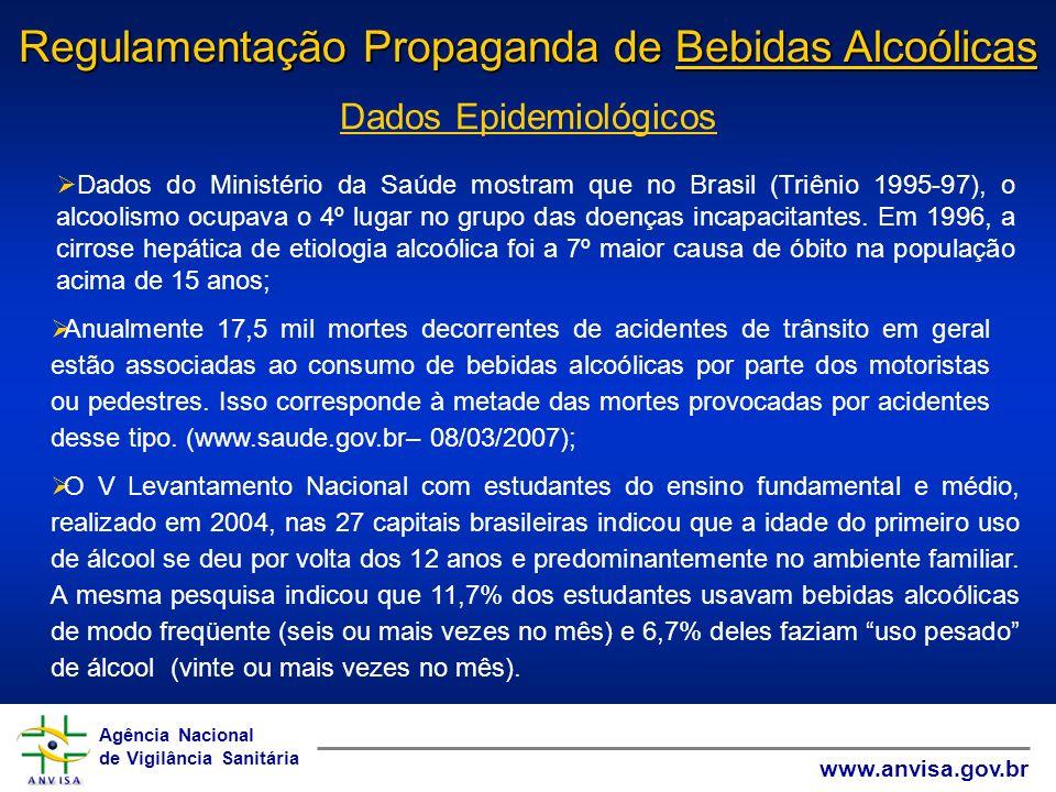 Agência Nacional de Vigilância Sanitária www.anvisa.gov.br Agência Nacional de Vigilância Sanitária www.anvisa.gov.br ANTECEDENTES GRUPO DE TRABALHO INTERMINISTERIAL (2003 - GTI) Estabeleceu diretrizes da política pública nacional para o álcool.