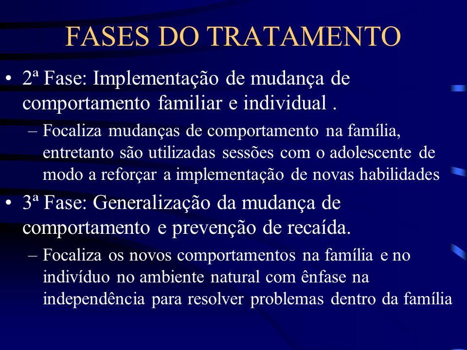 FASES DO TRATAMENTO 2ª Fase: Implementação de mudança de comportamento familiar e individual. –Focaliza mudanças de comportamento na família, entretan