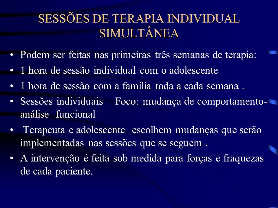 SESSÕES DE TERAPIA INDIVIDUAL SIMULTÂNEA Podem ser feitas nas primeiras três semanas de terapia: 1 hora de sessão individual com o adolescente 1 hora