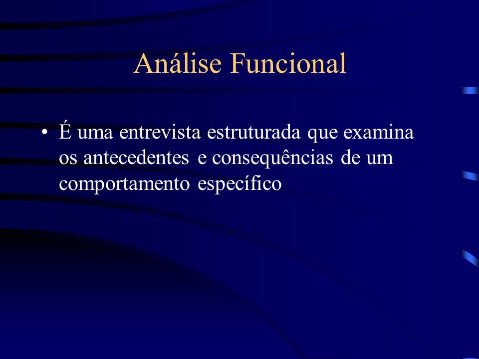 Análise Funcional É uma entrevista estruturada que examina os antecedentes e consequências de um comportamento específico
