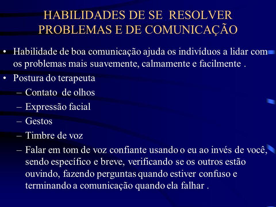 HABILIDADES DE SE RESOLVER PROBLEMAS E DE COMUNICAÇÃO Habilidade de boa comunicação ajuda os indivíduos a lidar com os problemas mais suavemente, calm