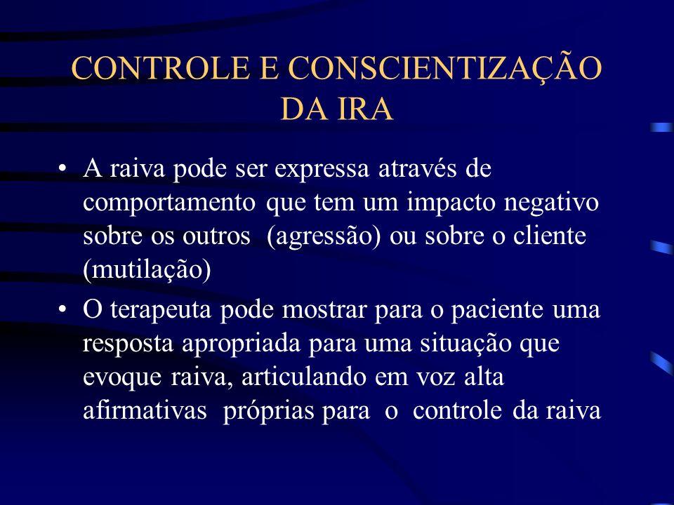 CONTROLE E CONSCIENTIZAÇÃO DA IRA A raiva pode ser expressa através de comportamento que tem um impacto negativo sobre os outros (agressão) ou sobre o